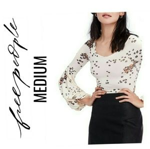 FREE PEOPLE Ivory Floral Flared Sleeves Top NWT M